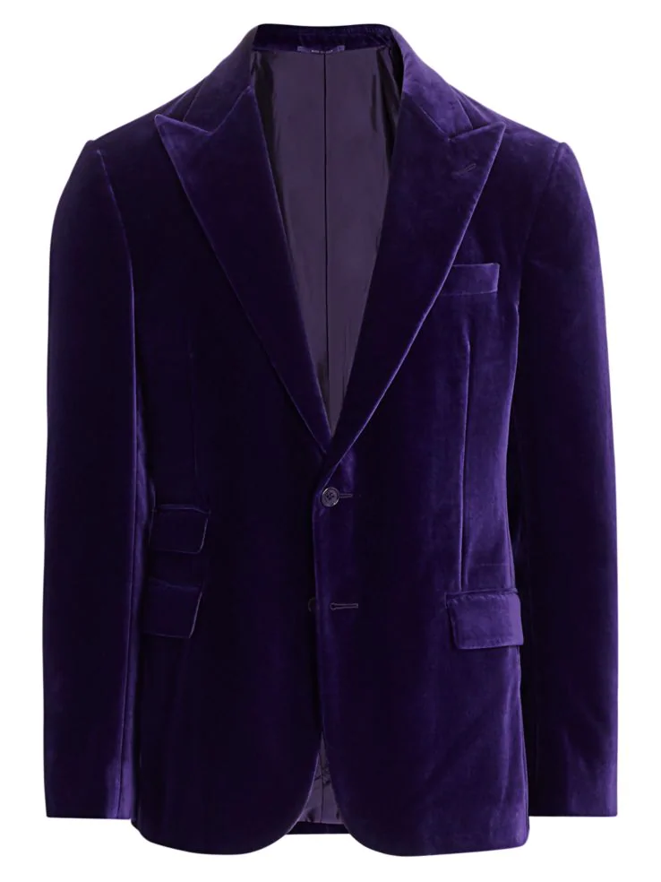 What to Wear this Holiday Season, men's velvet blazer, Ralph Lauren Purple Label purple velvet jacket