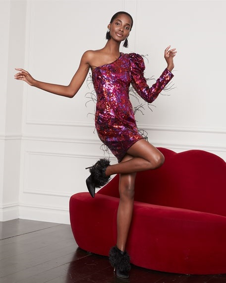What to Wear this Holiday Season, sequin feather dress, Aidan by Aidan Mattox ombre sequin one-shoulder mini-dress with feathers fuchsia