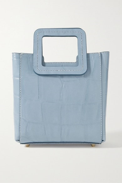 Monochromatic Style, monochromatic pale blue outfit, STAUD Shirley mini croc-effect leather tote light blue leather