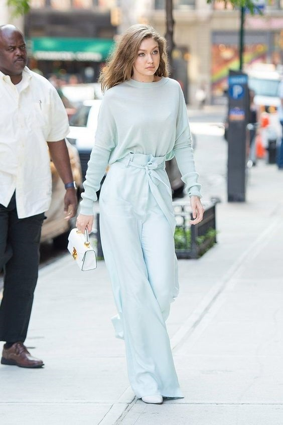 Monochromatic Style, pale blue monochromatic outfit, Gigi Hadid pale blue monochromatic outfit