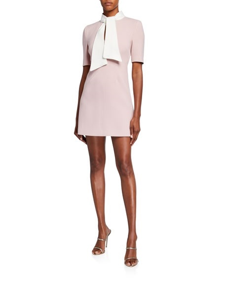 Monochromatic Style, pale pink monochromatic outfit, Toccin tie neck mini dress in light pink
