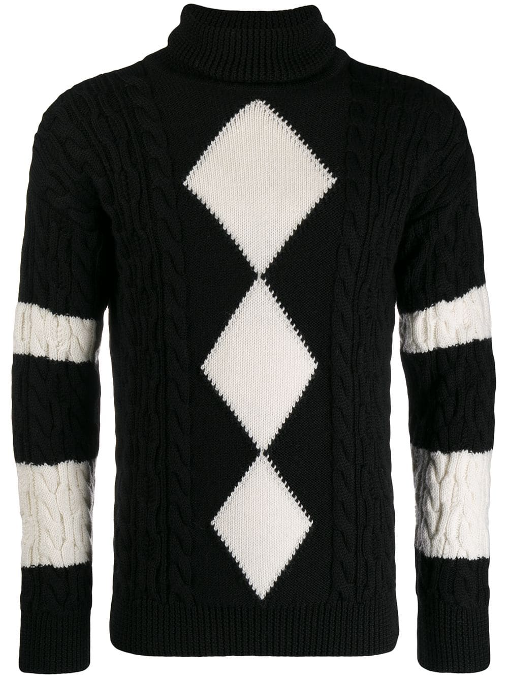 Ski Into Style…Stylish Looks for Winter Vacation Destinations, apres ski men's outfit, Saint Laurent turtle neck argyle sweater black and white