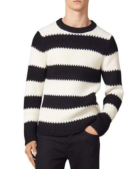 Ski Into Style…Stylish Looks for Winter Vacation Destinations, apres ski men's outfit, apres ski, Sandro andy wide black and white striped crewneck sweater