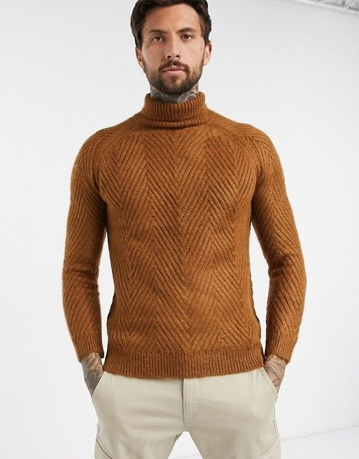 Ski Into Style…Stylish Looks for Winter Vacation Destinations, apres ski men's outfit, men's bershka rust color chunky cable knit sweater