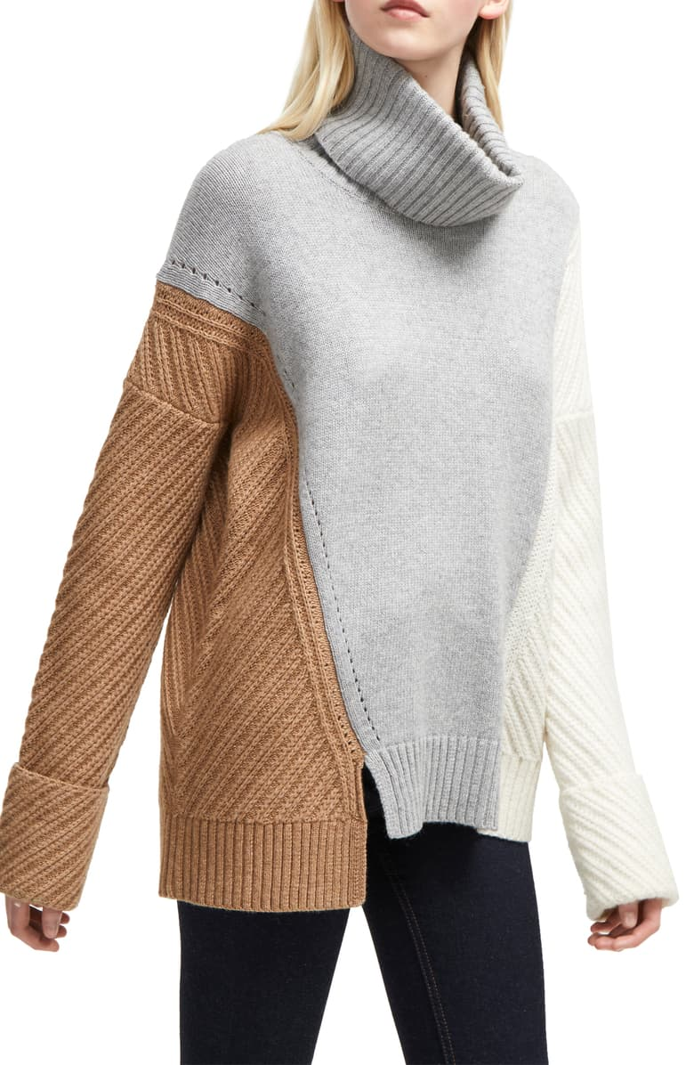 Ski Into Style…Stylish Looks for Winter Vacation Destinations, apres ski women's outfit, french connection viola recut turtleneck colorblock sweater