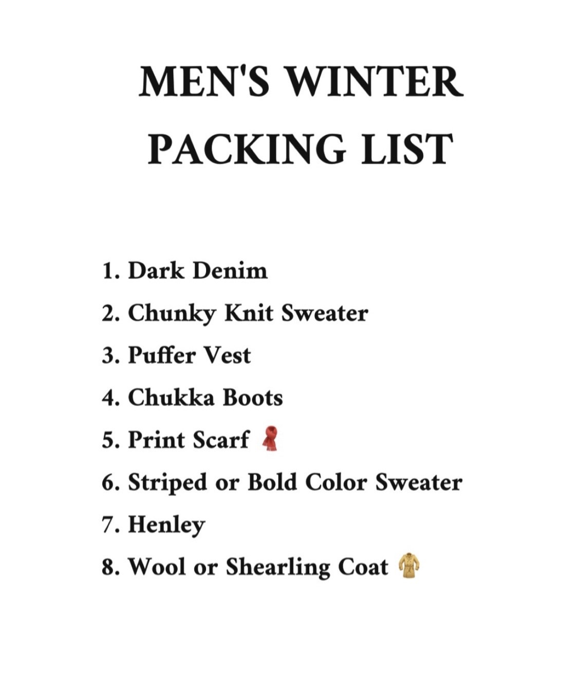 Ski Into Style…Stylish Looks for Winter Vacation Destinations, men's winter packing list