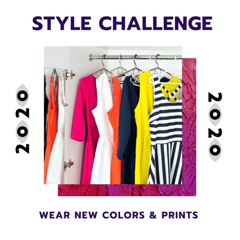 New Year Style Challenge, wear new colors and prints, women's colorful wardrobe