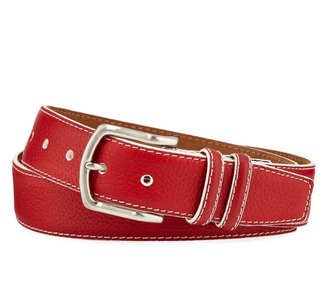 It's A Date: Flirty Looks + Gifts for Valentine's Day, Valentine's Day Gifts for Him, W. Kleinberg men's pebbled south beach red leather belt
