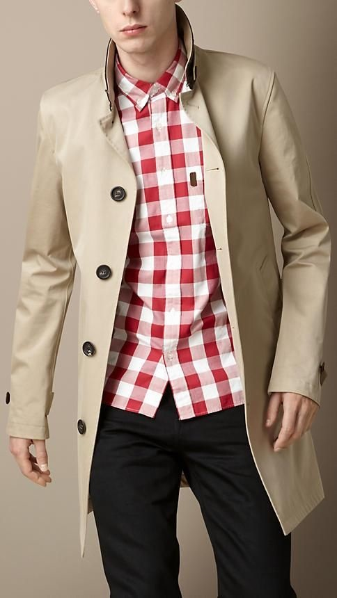 How to Create a Spring Capsule Wardrobe in 8 pieces, men's spring trench coat, Burgerry trench coat with red and white print checked shirt