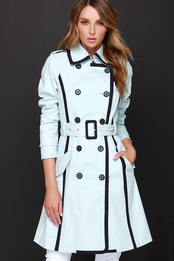 How to Create a Spring Capsule Wardrobe in 8 pieces, women's spring trench coat, women's light blue trench coat with black piping