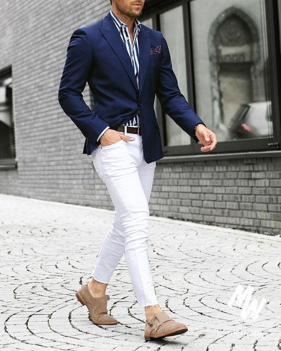 How to Create a Spring Men's Capsule Wardrobe in 8 Pieces, striped shirt, men's white jeans outfit