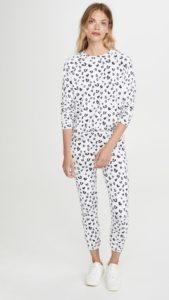 women's loungwear, white with black heart sweatshirt