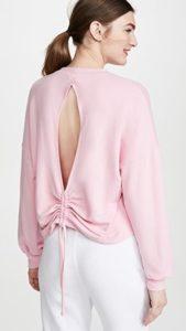 women's loungewear, pink open back sweatshirt