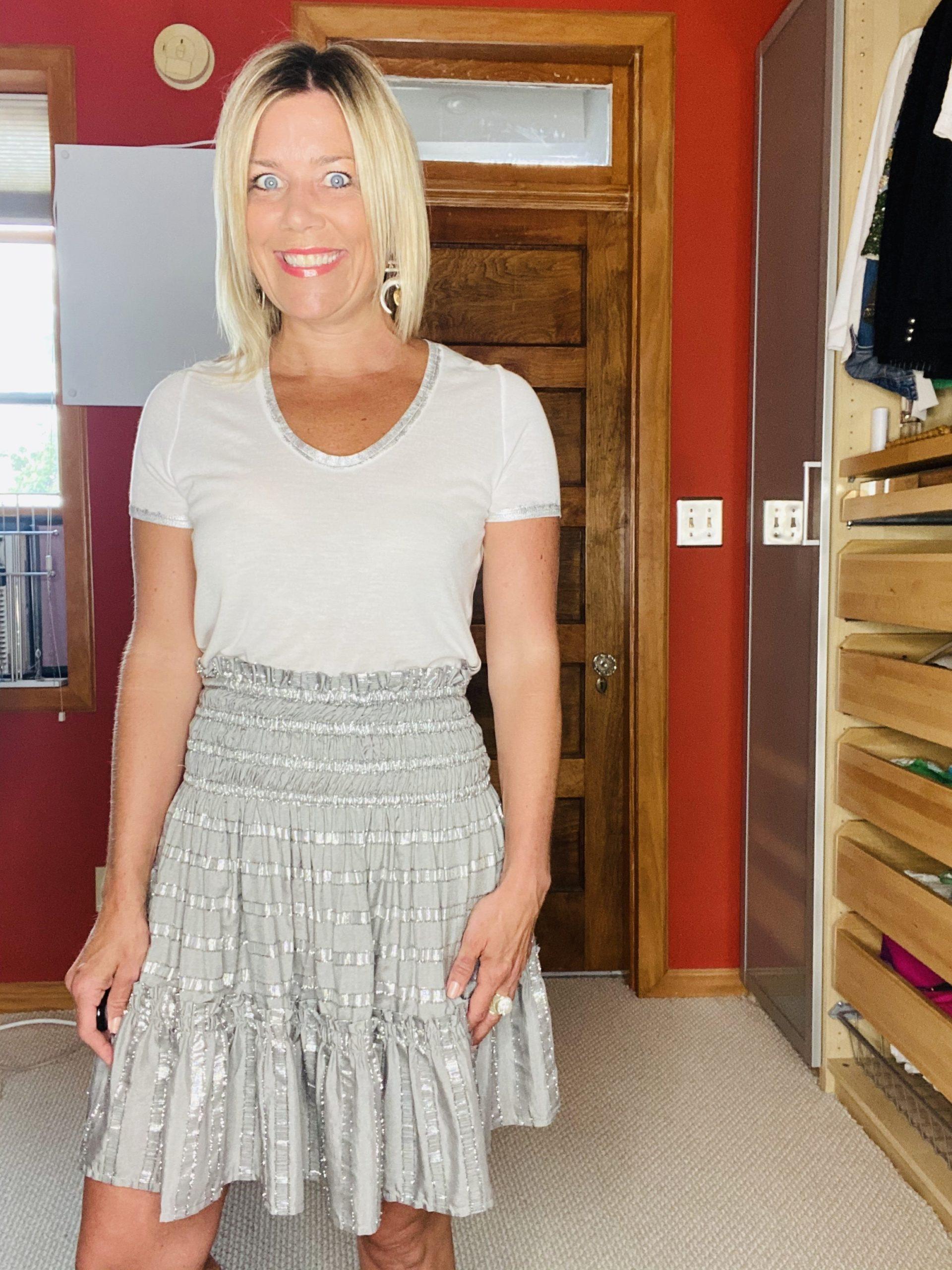 Summer Wardrobe Essentials, dressy tee, Zadig Voltaire whtie silver tee, Divine Style