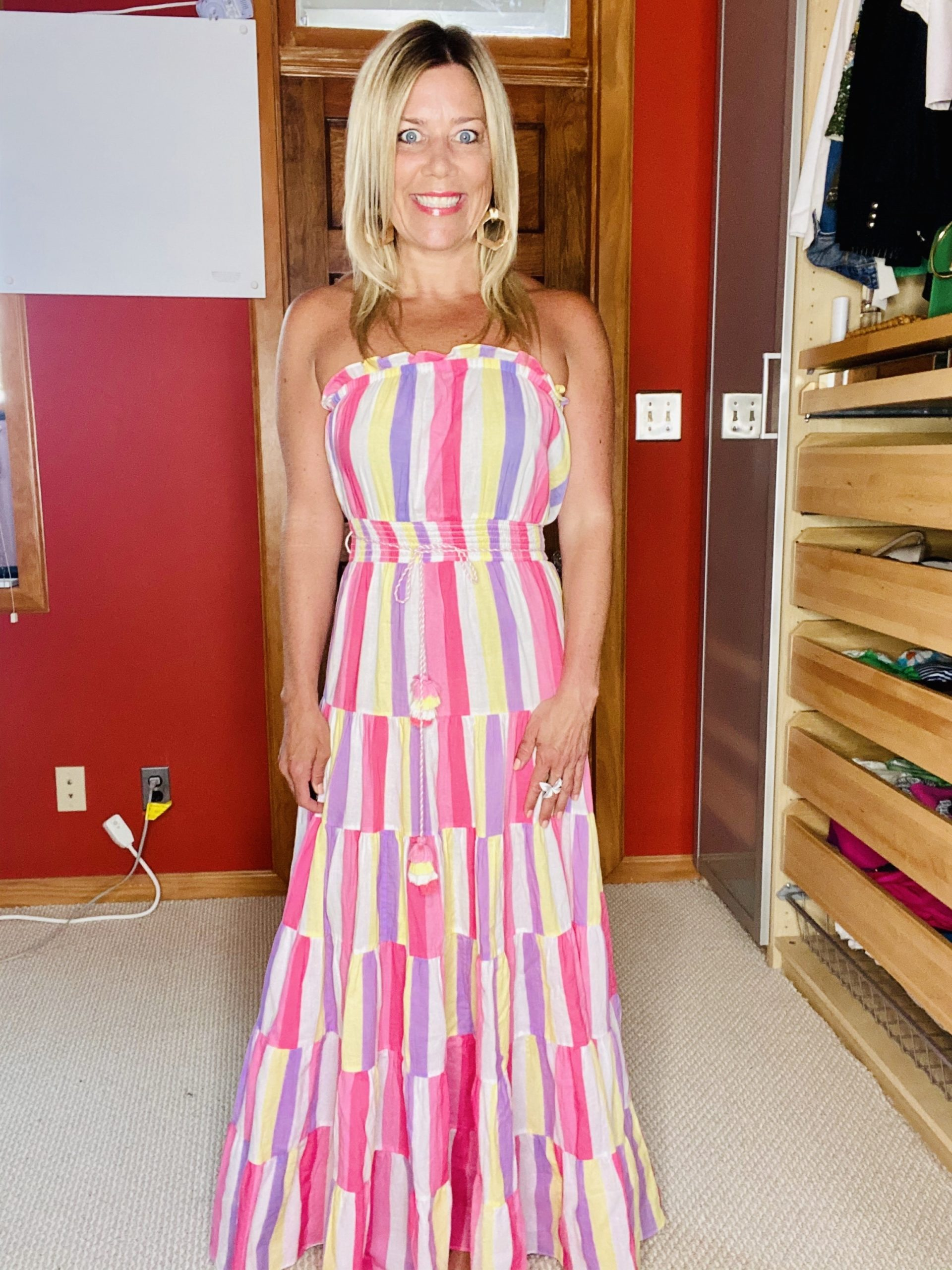 Summer Wardrobe Essentials, maxi dresses, rainbow stripe maxi dress, Divine Style