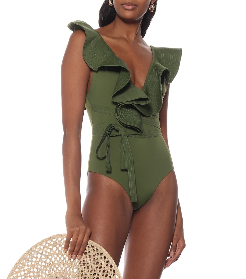 Summer wardrobe essentials, women's bathing suits, JOHANNA ORTIZ on the shore rulled olive swimsuit