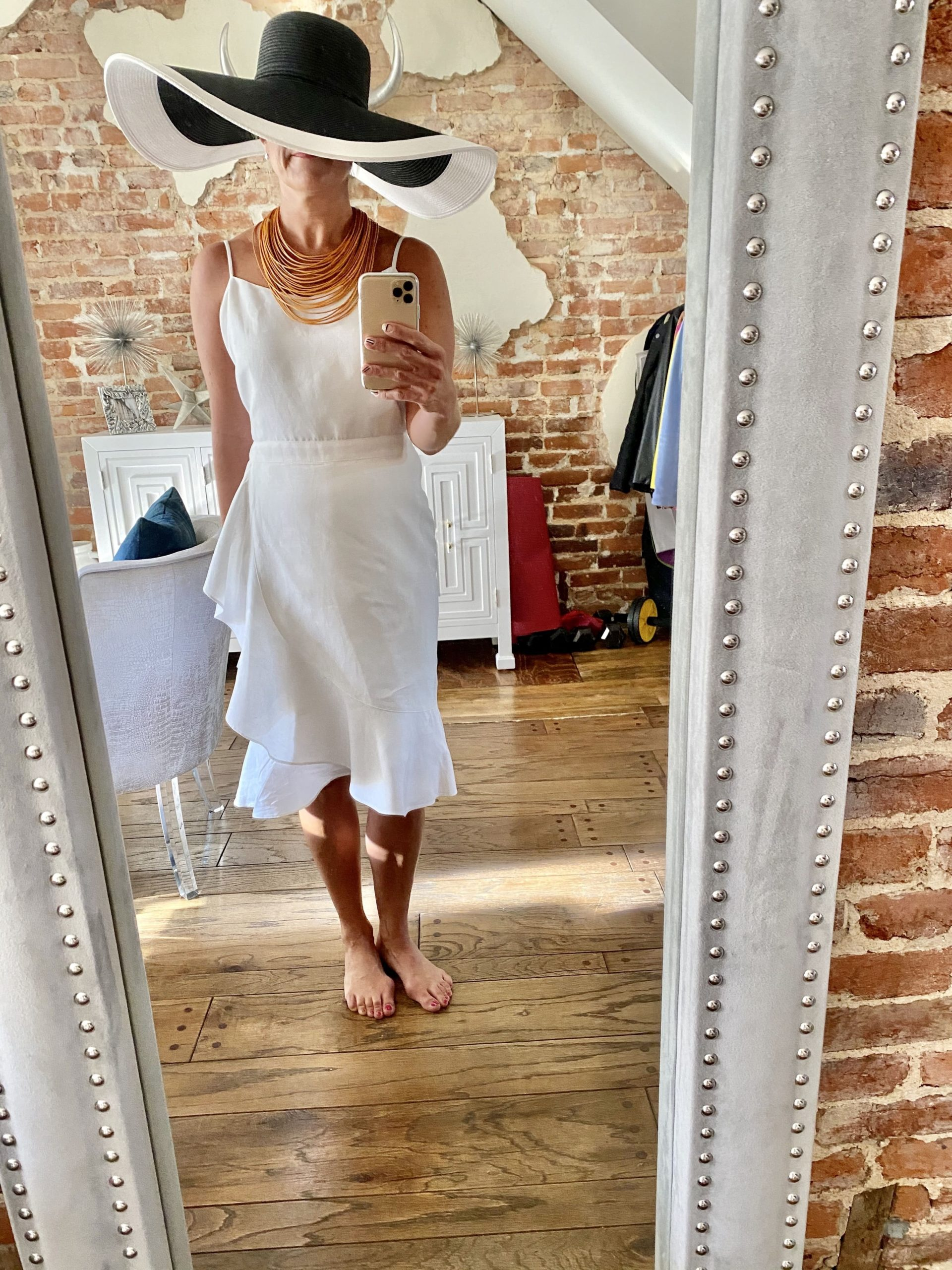 Summer Must-Have Accessories, wide brim black and white straw hat, bead necklace, Kelley Kirchberg, Divine Style