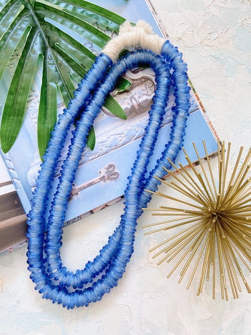 Summer Must-Have Accessory, bead necklace, African Trade Cornflower bead necklace, Beckett Boutique