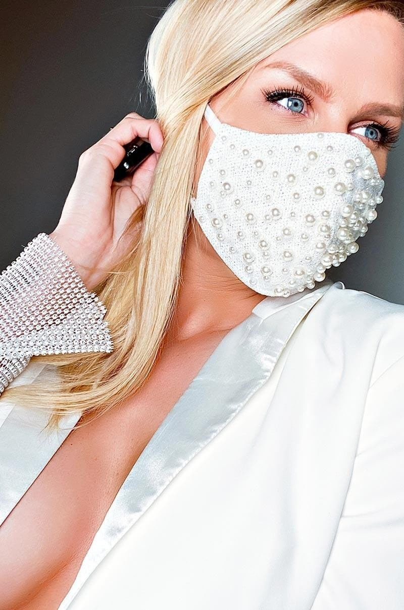 Masked In Style...Trendy Face Masks to Wear, white and pearl face mask, FOR THE LOVE OF PEARLS FASHION FACE MASK COVER