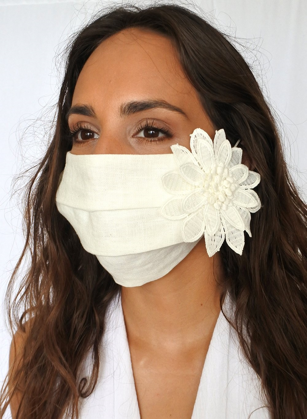 Masked In Style...Trendy Face Masks to Wear, women's face masks, white linen with flower face mask