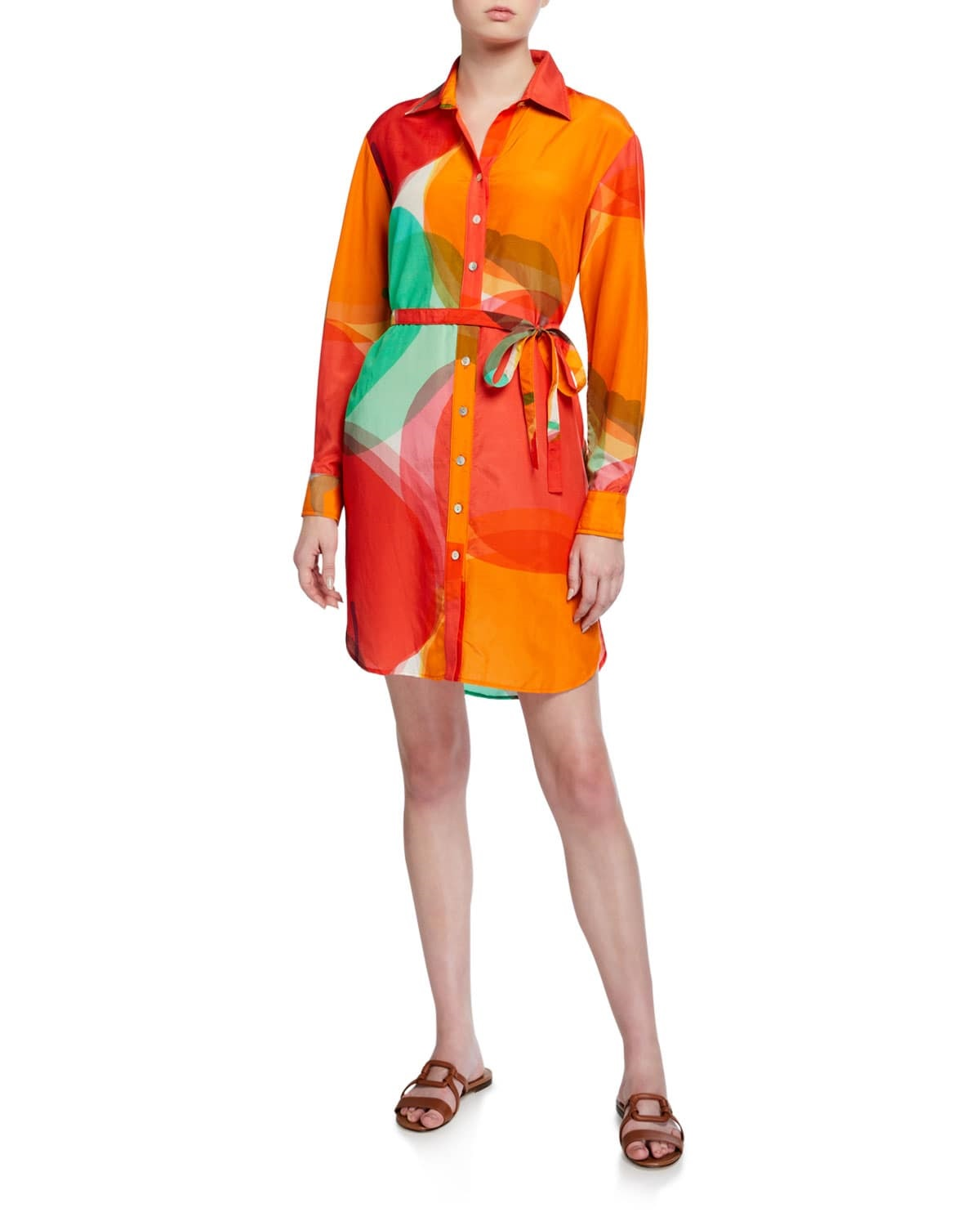 Sunny and Stylish Labor Day Weekend Outfits, Finley Carter Abstract Apple Shirt Dress with waist tie