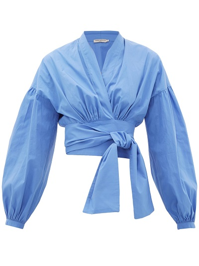 Sunny and Stylish Labor Day Weekend Outfits, THREE GRACES LONDON greta blue ballon sleeve cotton wrap blouse