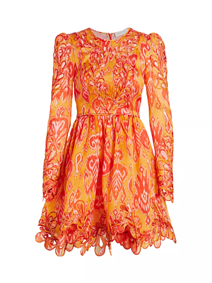 Sunny and Stylish Labor Day Weekend Outfits, print sundress, Zimmerman Brightside Rouleaux Puff-Sleeve Mini Dress gold Ikat
