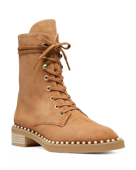 Shoe Trends Everyone Will Wear This Fall, Stuart Weitzman sondra faux pearl combat boots in tan