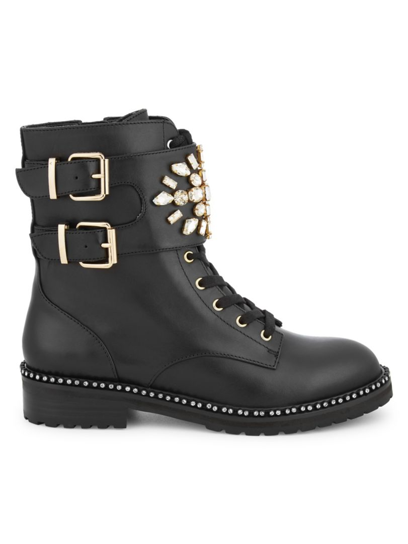 Shoe Trends Everyone Will Wear for Fall, embellished boots, Kurt Geiger London stoop black embellished leather combat boots