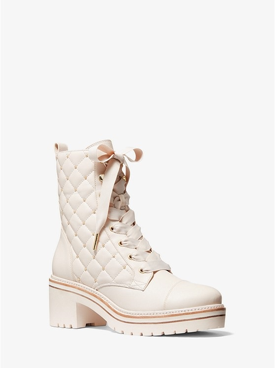 Shoe Trends Everyone Will Wear for Fall, neutral boots, MICHAEL MICHAEL KORS Tilda quilted leather combat boots in light cream