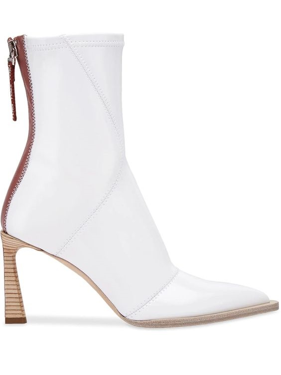Shoe Trends Everyone Will Wear for Fall, neutral boots, white boots, Fendi FFrame structured high heel ankle boots in white