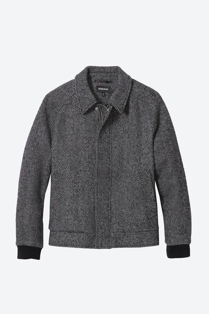 Power Outerwear, men's print coats, men's print jackets, men's coat trends 2020, Bonobos wool bomber jacket in black and white herringbone