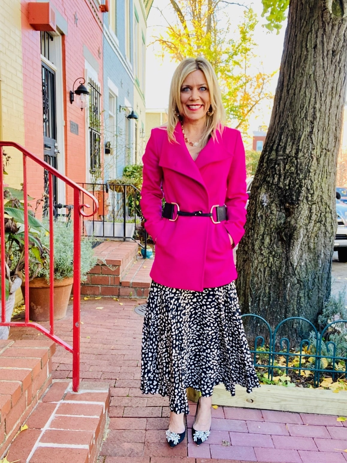 Power Outerwear...Cool Coats for Cool Days, Divine Style, belted in style, belting winter coats, fuchsia Ted Baker coat