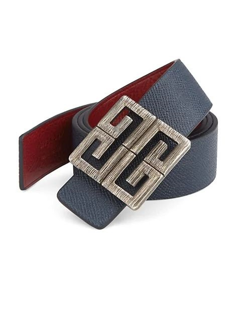 Power Outerwear...Cool Coats for Cool Days, Givenchy big buckle men's reversible belt in navy and red