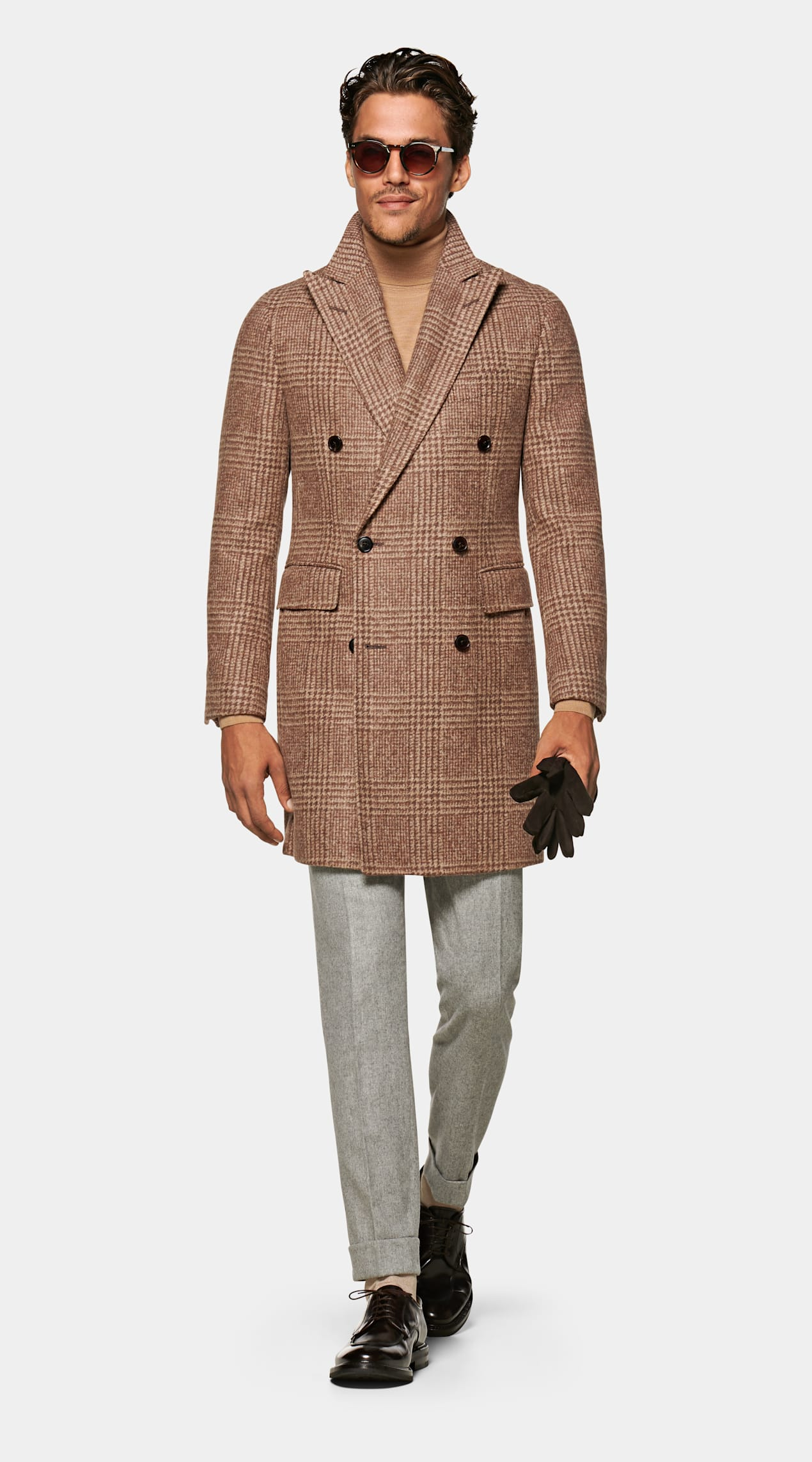 Power Outerwear...Cool Coats for Cool Days, plaid coats, plaid jackets, SuitSupply Mid Brown Check wool Overcoat