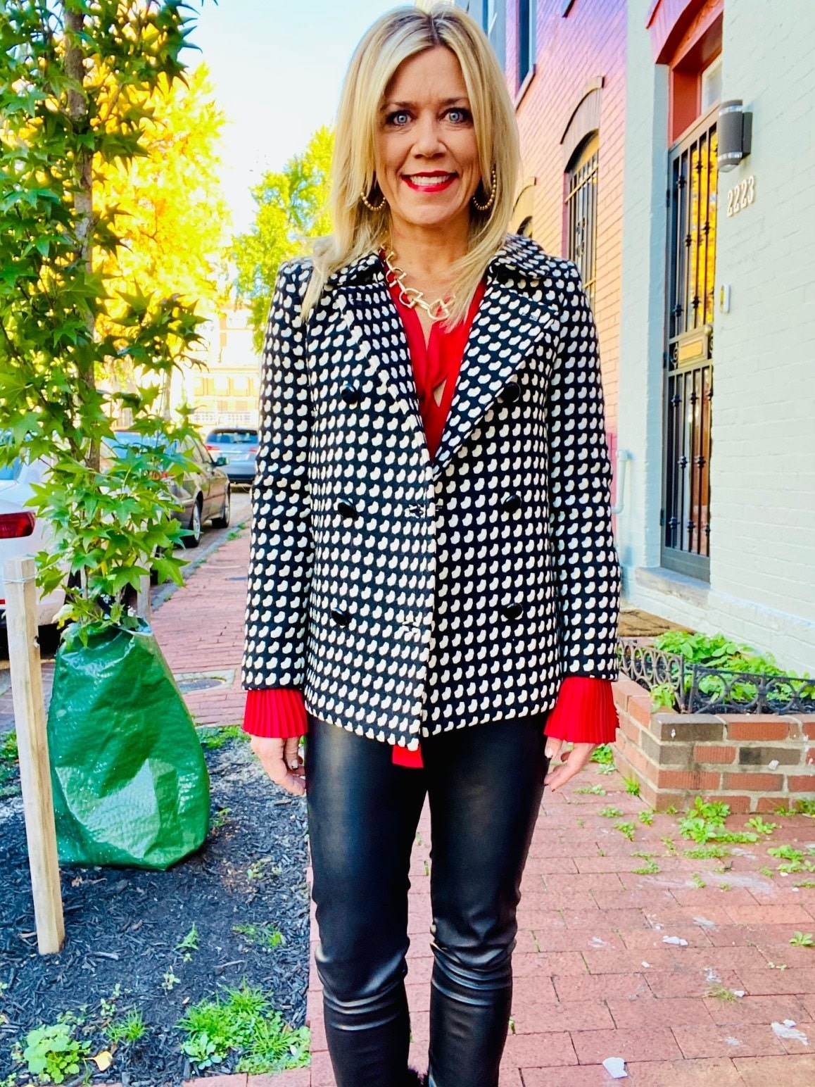 Power Outerwear...Cool Coats for Cool Days, play with prints, print coats, print jackets, Milly black and white print coat