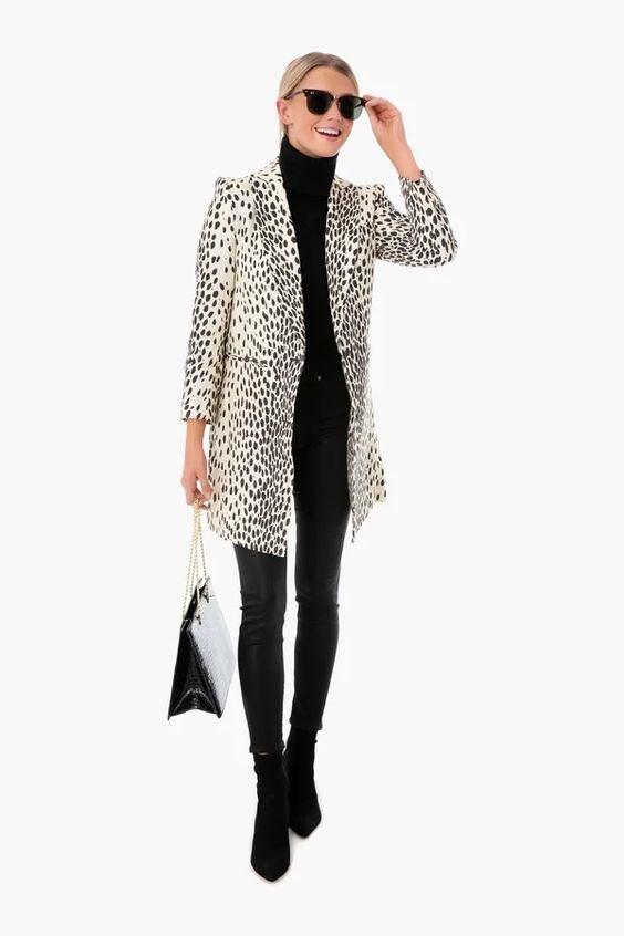Power Outerwear...Cool Coats for Cool Days, playful print coats, leopard coat, Emerson Fry leopard wingtip coat