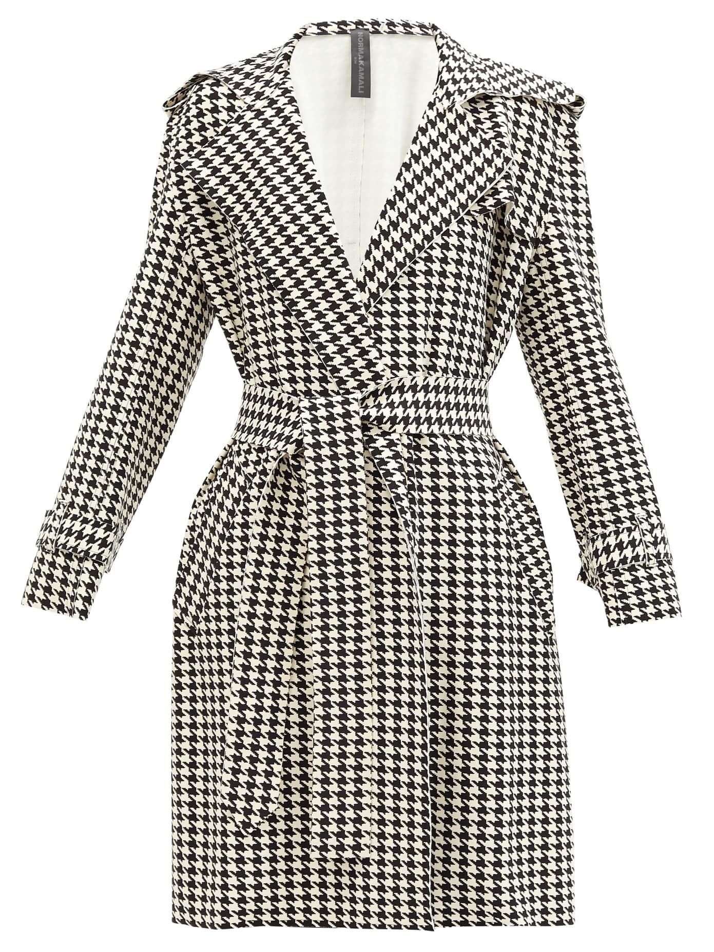 Power Outerwear...Cool Coats for Cool Days, print coats, Norma Kamali houndstooth print belted trench coat-min