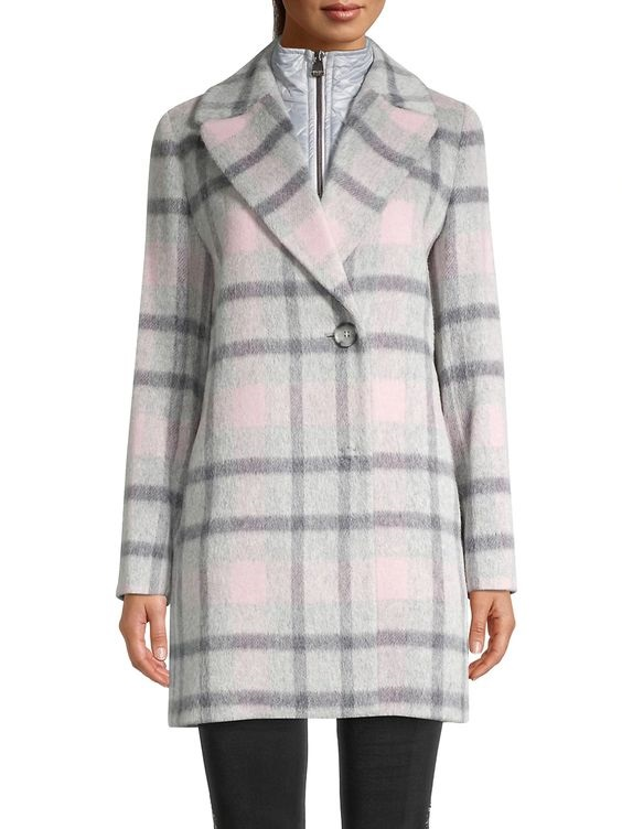 Power Outerwear...Cool Coats for Cool Days, women's plaid coats, plaid jackets, Cinzia Rocca gray and pink plaid coat