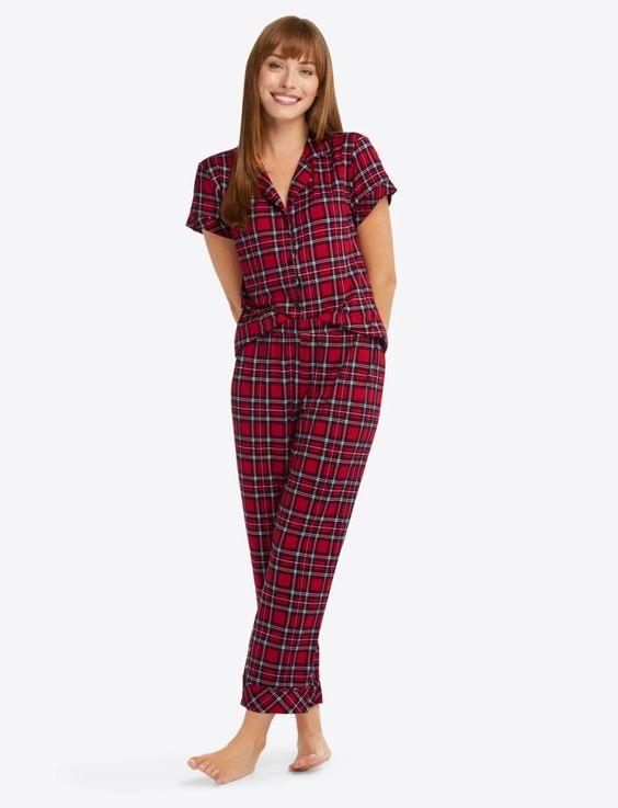 Cozy Christmas Pajamas, women's plaid pajamas, Draper James linda pajama set red angie plaid