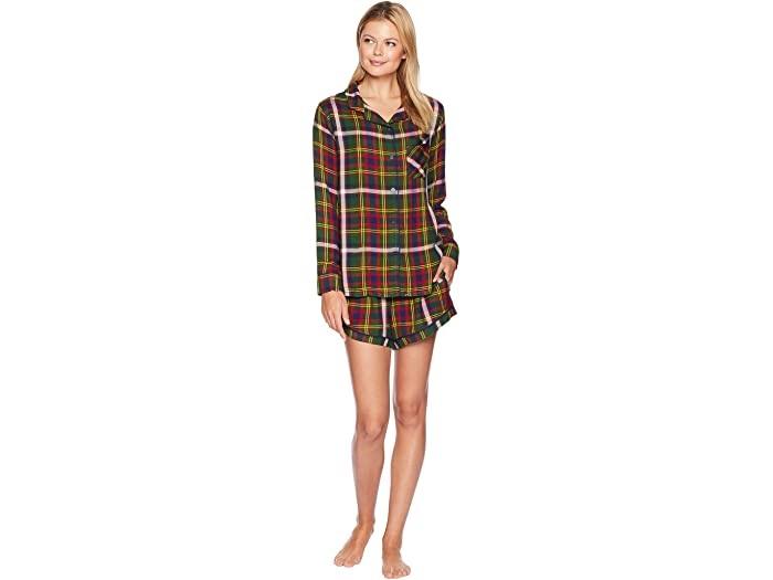 Cozy Christmas Pajamas, women's plaid pajamas, Plush green plaid shorts pajamas
