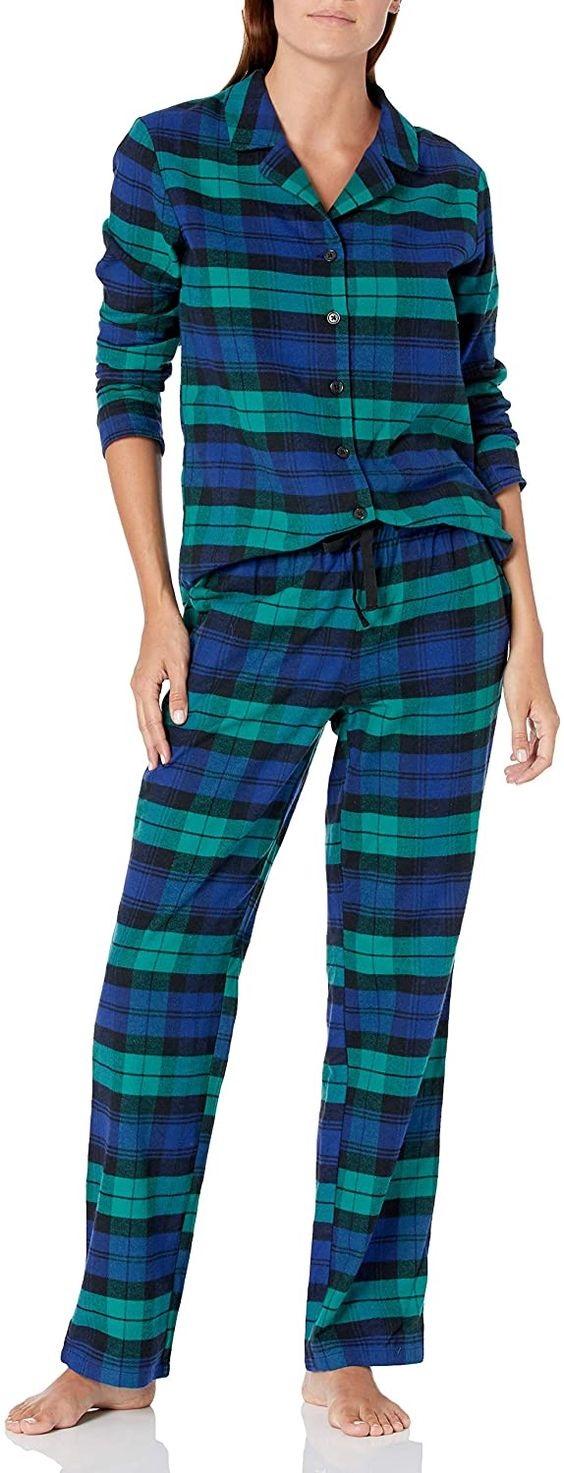 Cozy Christmas Pajamas, women's plaid pajamas, women's Amazon Essentials blue and green plaid flannel pajamas