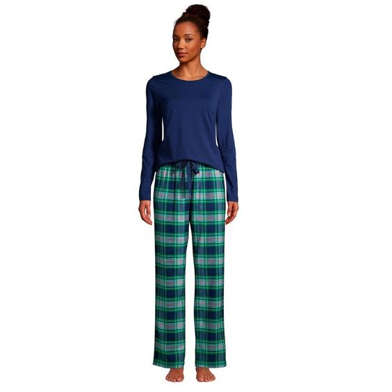 Cozy Christmas Pajamas, women's plaid pajamas, women's blue pajama top with green and blue plaid pajama pants, Lands End