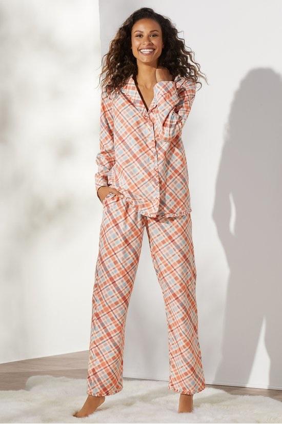 Cozy Christmas Pajamas, women's plaid pajamas, women's pink and orange plaid pajamas