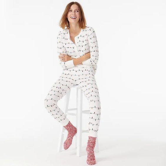 Cozy Christmas Pajamas, women's thermal pajamas, J Crew string of lights christmas henley pajama set