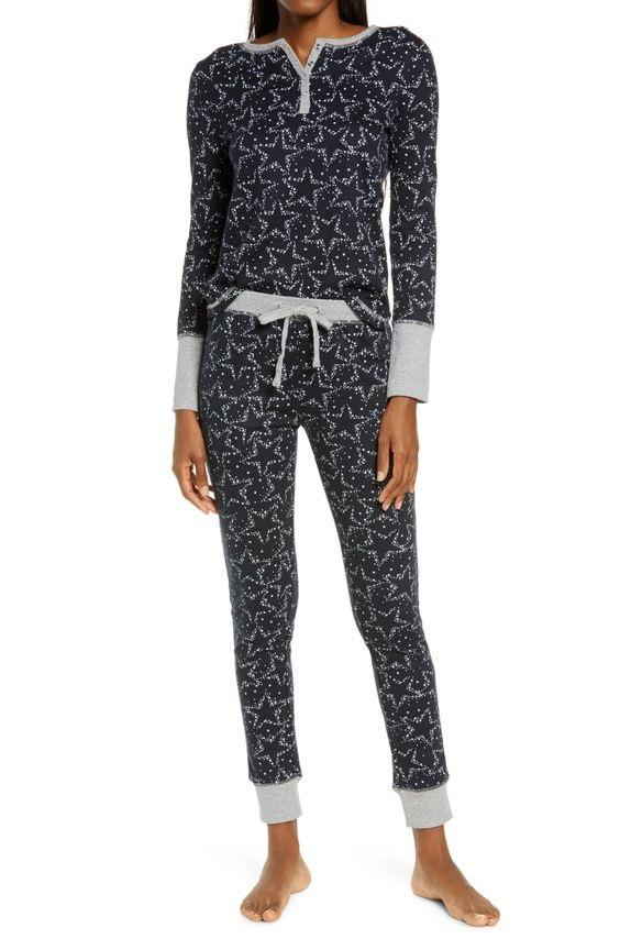 Cozy Christmas Pajamas, women's thermal pajamas, Splendid blue stars thermal print pajamas