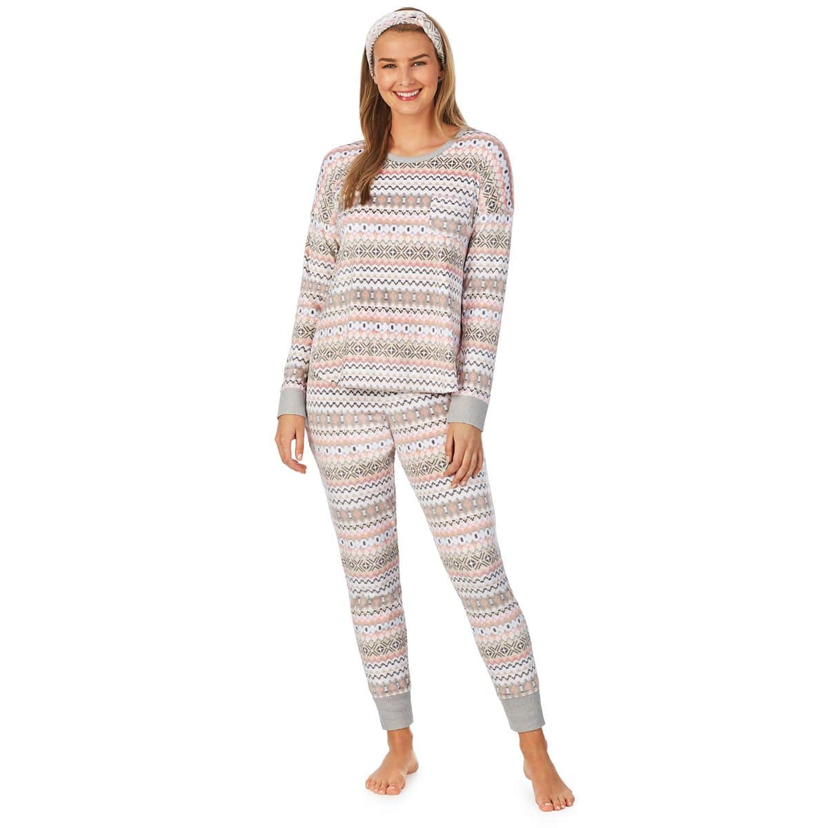 Cozy Christmas Pajamas, women's thermal pajamas, fair isle pajamas, women's pink and gray fairisle pajamas