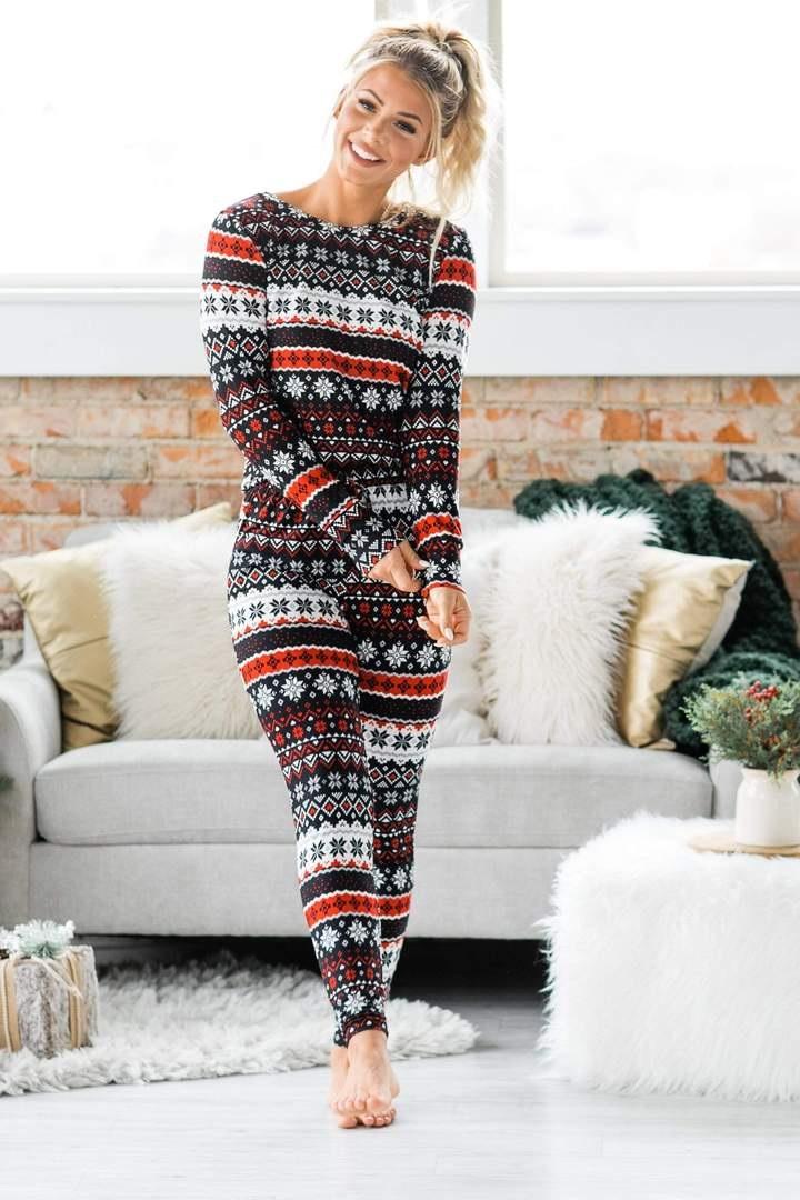 Cozy Christmas Pajamas, women's thermal pajamas, women's black, red, and white fair isle christmas pajamas