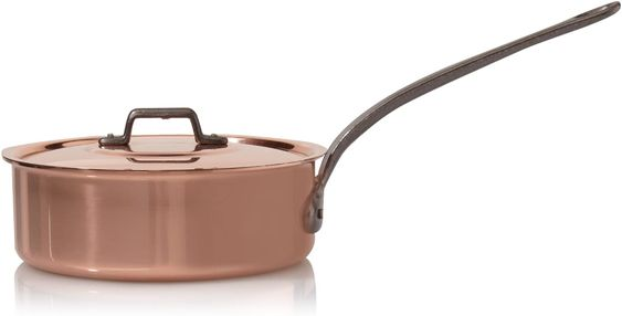 Divine Style Amazon Picks for kitchen, copper pans, Baumalu Copper High-Sided Frying Pan + Lid