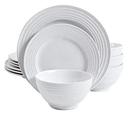 Divine Style Amazon Picks for Kitchen, Gibson Home Plaza Cafe 12 pc Round white Dinnerware Set